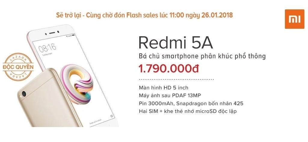 Xiaomi Redmi 5A khuyến mãi cực sốc trên Lazada